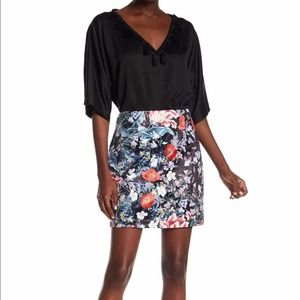 Minkpink Satin Floral Mini Skirt